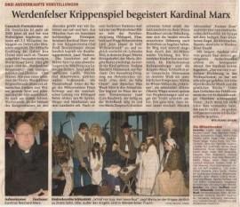 Bericht Garmisch-Partenkirchner Tagblatt - Werdenfelser Krippenspiel begeistert Kardinal Marx