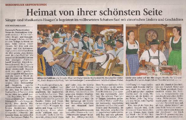 Foto von Bericht des GAP-Tagblatts zum Sänger- und Musikanten-Hoagart'n im vollbesetzten Schatten-Saal