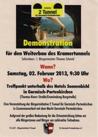 Bild Demo für den Weiterbau des Kramertunnels in Garmisch